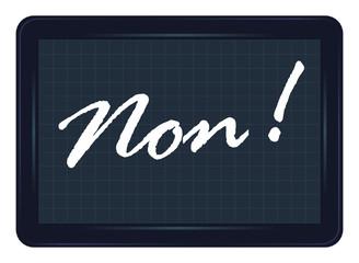 non, refus, ardoise, exclamation, message, étiquette, mot