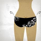 Bikini bottom on grunge background, view back poster