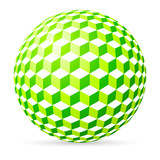 Green spherical cubes on white background.