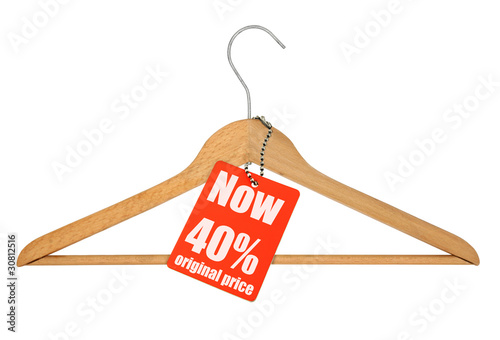 coat hanger sale tag on white