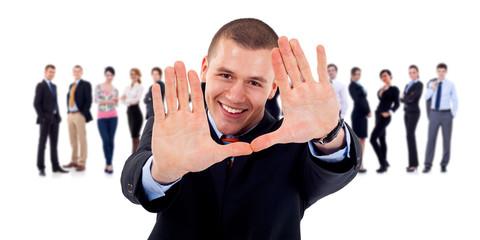business team leader making hand frame gesture