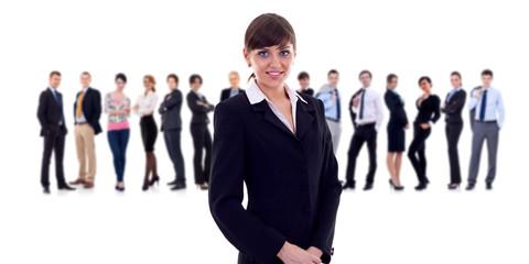 businesswoman with her team behind