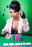 woman with poker face making a bet poster