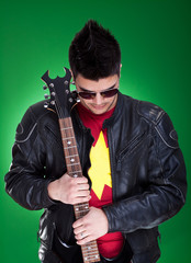 guitarist in black leather jacket
