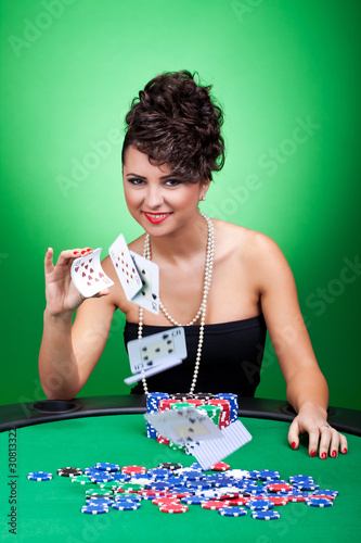 woman playing with the cards