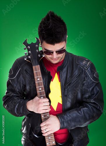 guitarist in black leather jacket