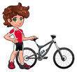Baby Cyclist. Vector character. Isolated objects