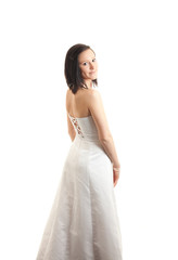 young womand dress back isolated