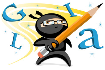 Ninja writer holding pencil while doing magical letters