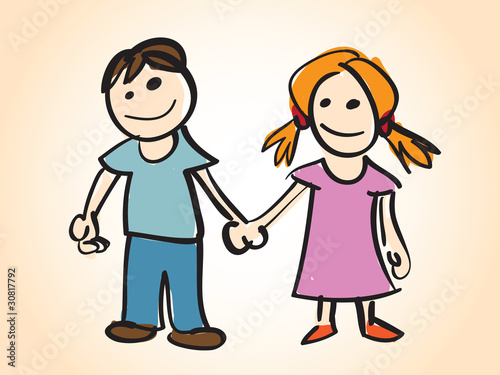 Illustration: cartoon boy and girl - illustration