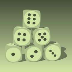 Six wood playing dices - illustration.