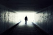 Silhouette of Man Walking in Tunnel. Light at End of Tunnel - 30818780
