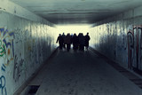 Fototapety People in Subway. Light at End of Tunnel