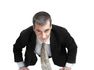 Business man do push up