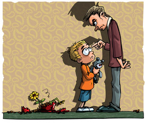 Cartoon of little boy being scolded by his dad