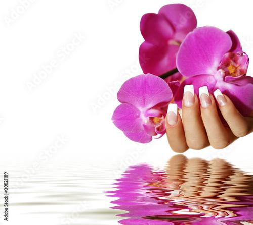Leinwandbilder,nail art,nagel,finger,orchidee
