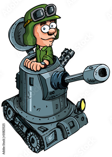 Tuinposter Militair Cartoon soldier in a small tank