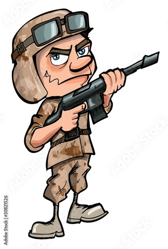 Foto op Aluminium Militair Cartoon soldier isolated on white