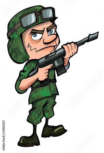 Foto op Plexiglas Militair Cartoon soldier isolated on white