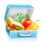 lunch box with sandwich apple