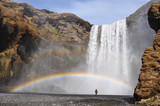 Skogafoss waterfall with rainbow south Iceland poster