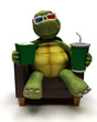 Tortoise relexing in armchair watching a 3D movie