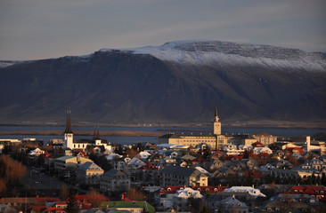 Beautiful aerial view to Reykjavik downtown, Iceland