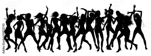 Beautiful women dancing silhouettes