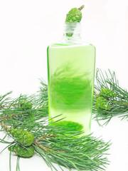 shower shampoo bottle with fir extract
