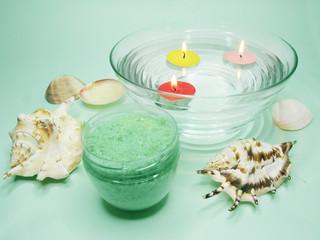 spa candles sea shells and salt