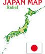 CARTE DU JAPON - Reliefs
