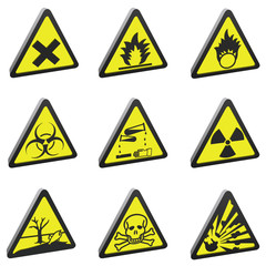 set of 9 hazard warnings