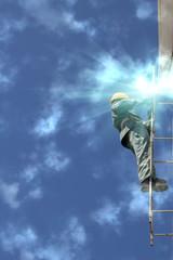Worker   welder  repair   ladder