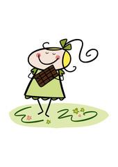 Bunte Zeichnung: Kleines Mädchen genießt Schokolade