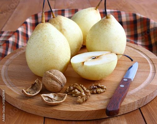 Pears and nuts.