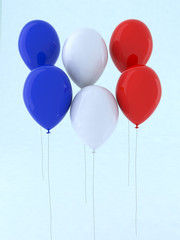 blue white and red balloon
