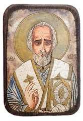 Icon of Saint Nicholas isolatedon white background