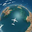 airplane flight above sea islands
