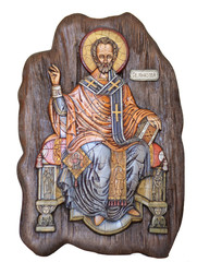 Wooden icon of Saint Nicholas isolated on white background