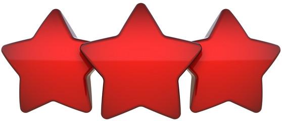 Star shapes three red shiny symbol. Award leadership concept