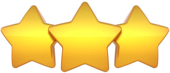 Star shapes three golden shiny symbol. Leadership award