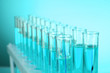 Test-tubes on blue background