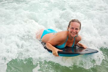 Girl on a boogieboard