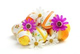 Colorful Easter Eggs with Spring Flowers