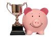 piggybank with trophy