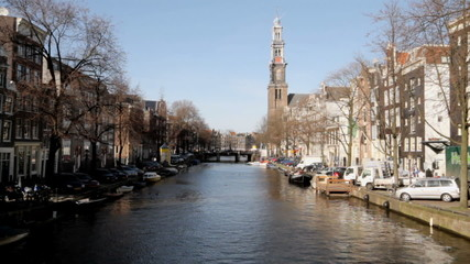 Amsterdam with the Westerkerk in the Netherlands