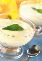 Cream cheese dessert with mint leaf