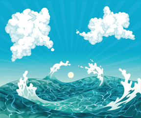 Waves. Vector illustration, isolated objects