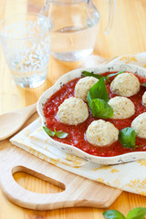 Chicken meatballs and tomato sauce