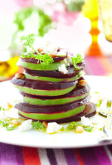 beetroot,goat cheese and avocado